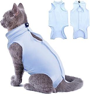 SUNFURA 猫康复服适用于*后*吐奶,专业透气*身体套装适用于猫狗Neuter,E-Collar 替代宠物*背心防舔(S 码,蓝色)