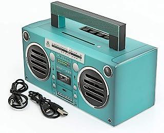 GPO Bronx 迷你蓝牙音箱小巧复古便携带可充电电池包括 USB 端口、TF 卡端口和辅助GPO Bronx Aqua W 19.7cm x D 8.7cm x H 13cm