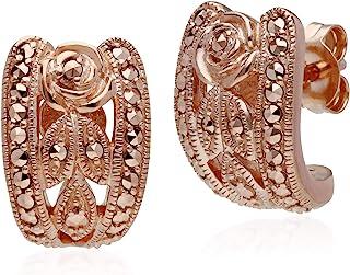 925 纯银镀玫瑰金马赛石花朵耳钉