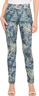 女式超柔软弹力舒适丝滑印花连衣裙裤轻松舒适办公裤- 常规和加大码
