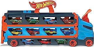 风火轮(Hot Wheels) GVG37 – 2合1赛道运输车,可存放3辆汽车,比例为1:64,适合4至8岁儿童