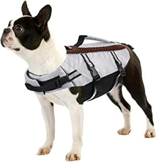 Queenmore 宠物救生衣,狗狗救生衣,高浮度,救援手柄,轻便,可调节和高可见度(灰色,大号)