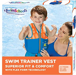 SwimSchool 新款改进型游泳训练背心,弹性设计,加垫肩部和可调节*带,易于穿脱,小号/中号,*大承重 33 磅,蓝色/橙色(AZV18863ML-Parent)