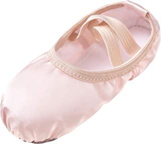Stelle 女孩芭蕾舞鞋缎面拖鞋体操平底鞋开叉鞋底带缎带