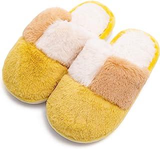 男孩女孩蓬松拖鞋柔软舒适毛绒家居拖鞋儿童可爱毛绒室内保暖鞋(幼儿/小孩)