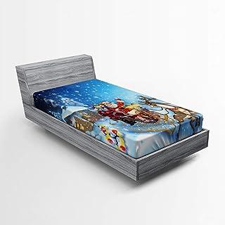 Ambesonne 圣诞床罩,雪橇中的圣诞老人与驯鹿和玩具在雪地北极故事幻想图像,柔软装饰织物床上用品全圆弹性口袋,单人床尺寸,*蓝
