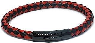 Knights 誓言真皮手链黑色和红色编织斜纹设计时尚珠宝袖口不锈钢扣
