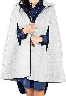 女式时尚斗篷大衣 单排扣纯色中长款外套