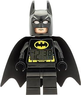 LEGO DC 漫画*英雄蝙蝠侠 9005718 儿童公仔发光闹钟 黑色 / yelow √ 塑料 √ 9.5 英寸高 LCD 显示屏 – 男孩女孩官方