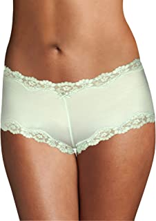 Maidenform 女士超细纤维扇贝蕾丝高贵时髦内裤