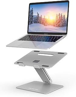 笔记本电脑支架,AboveTEK 可调节电脑竖板,适用于桌面,适用于 Mac MacBook Pro Air 笔记本电脑,*大 17 英寸,可承重 44 磅 – 银色
