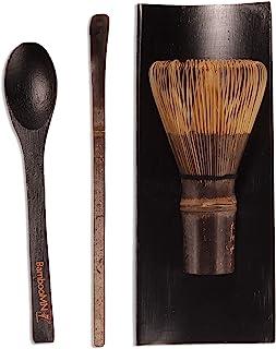 BambooMN 抹茶搅拌套装 - Black Chasen(茶搅拌),黑色托盘,黑色Chashaku(煮竹勺),黑茶勺 - 1 套