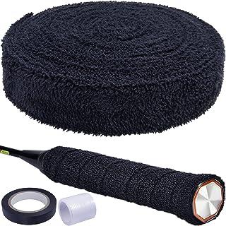PSMILE 16.4 英尺 5 米黑色棉质毛巾握把*吸水毛巾网球拍防滑吸汗带胶带球拍抓地力专业球拍握带网球拍握带适用于网球羽毛球自行车手柄
