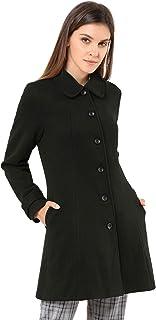 Allegra K 女式 Peter Pan 领单排扣外套冬季长款外套