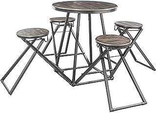 Benjara Benzara 工业风格柜台高度桌子和凳子套装,五件装,灰色