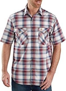 Carhartt 男式 104173 Rugged Flex 休闲修身轻质格子衬衫 - 2XL 码常规 - 深谷仓红色