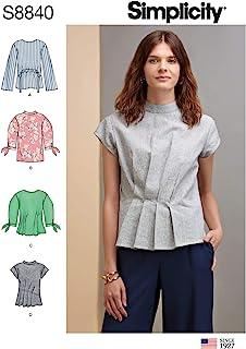 Simplicity US8840H5 图案 S8840 女式上衣,长度、前衣袖和袖子变型 不适用 R5 (14-16-18-20-22) US8840R5