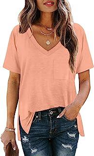 女式露肩上衣短袖 V 领侧开叉夏季 T 恤