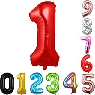 40 英寸大数字气球红色气球巨型氦气球 数字 0 1 2 3 4 5 6 7 8 9 生日周年纪念派对婴儿淋浴婚礼装饰节日气球(红色 1)
