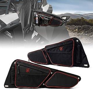 【*】Xprite UTV 前侧门储物袋带可拆卸护膝,兼容 2014-2020 Polaris RZR XP Turbo S 1000 S900 - 红色衬里