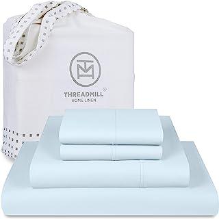 Threadmill 家用亚麻 300 支 * 纯棉床单 4 件套全弹力设计,适合深达18英寸(约 45.72 cm) 的床垫,大号双人床 白色