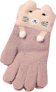 儿童保暖冬季针织手套卡通猫连指手套圣诞节适合男孩女孩