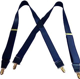 hold-ups 钢蓝色11/ 5.08cm 宽缎面饰面, x-back 带防滑金夹