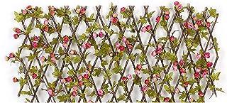 CALIDAKA 可扩展围栏隐私屏幕人造绿篱人造常春藤院装饰人造常春藤格子篱笆木质绿篱面板格子隐私屏幕,适用于花园,庭院(粉色)