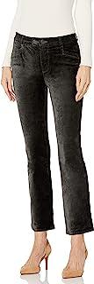 PAIGE 女式 Claudine 天鹅绒双纽扣高腰九分喇叭裤