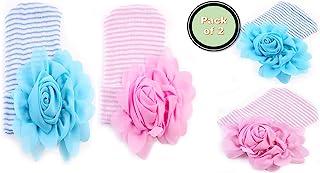 MOBILEPRIME 女婴帽子新生儿花朵帽子婴儿幼儿园花朵玫瑰头巾