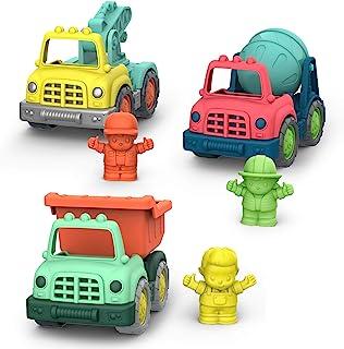 Battat Wonder Wheels 3 件套迷你玩具卡车和人物,适合儿童,幼儿 – 自卸卡车,水泥卡车,拖车 – 可回收汽车 – 1 岁以上儿童+(VE1048Z)