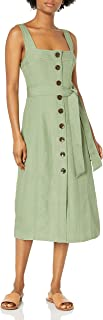C/Meo Collective 女式无袖 A 字型纽扣前系带腰带中长款连衣裙