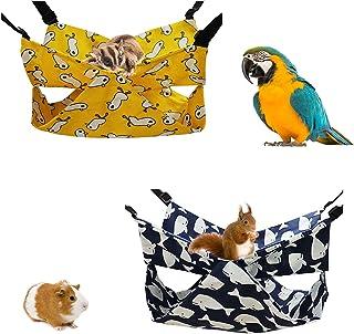 宠物吊床口袋双吊床猫吊床小号宠物吊床松鼠 My Neighbor Totoro 蜂蜜袋飞行仓鼠悬挂篮(黄色和蓝色)