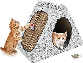 猫抓板躺椅,可拆卸猫抓板垫,带鼠标玩具和猫抓板,垂直猫抓躺椅,壁挂式回收波纹猫抓板沙发床,适用于大型猫