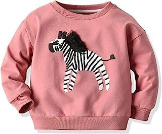 幼儿婴儿女孩男孩字母印花毛衣长袖套头运动衫上衣秋冬户外服装(粉色斑马,5-6 岁)