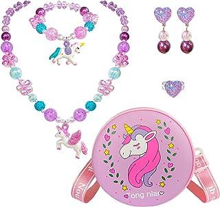 EleMirsa 6 件套独角兽钱包手提包,适合小女孩装扮珠宝假扮游戏儿童配饰独角兽项链珠宝派对礼品,紫色