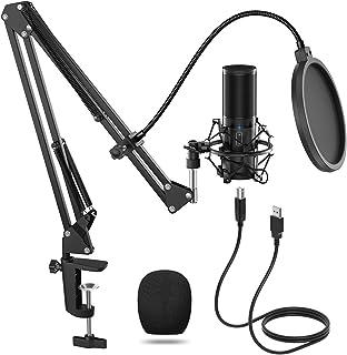 TONOR USB 麦克风套件,流媒体播客 PC 电容电脑麦克风,适用于游戏,YouTube 视频,录音音乐,配音,工作室麦克风套装带调节臂支架,Q9
