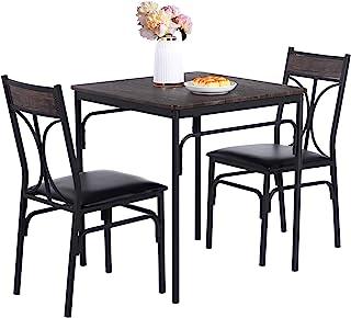 VECELO 3 件套餐厅木制厨房桌和 PU 靠垫椅套装,适合小空间,复古棕色