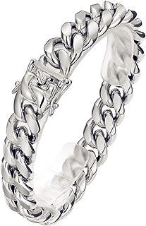 ROWIN&CO 男式手链重大 316L 不锈钢古巴链手链珠宝嘻哈手腕链,20.4 / 22.86 厘米