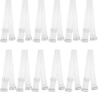 12 对隐形透明文胸带防滑可调节替换透明文胸带 - 12 毫米/0.47 英寸,15 毫米/0.59 英寸和 0.8 英寸/0.71 英寸肩带宽度