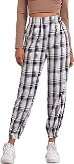 WDIRARA 女式格子弹性高腰休闲格子裤带口袋