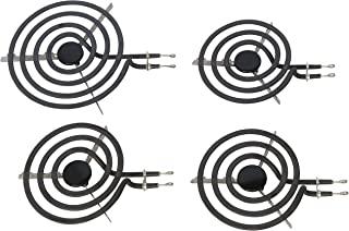 KITCHEN BASICS 101 SP22YA 电炉表面元件替换件 适用于 GE WB30X253 WB30X254,包括 1 个 8 英寸和 3 个 6 英寸燃烧器,4 件装