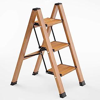 3 阶梯折叠凳,带防滑坚固和宽踏板,轻质 350 磅便携式铝木纹货架,适合家庭和厨房节省空间