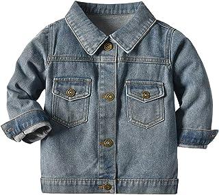 女婴冬季连帽毛领厚牛仔夹克外套保暖人造毛皮拉链口袋防风派克大衣羽绒服