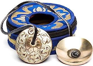 Lamatar1 佛教丁沙符号 - 2 英寸迷你尺寸带蓝色棉质拉链袋包 - 尼泊尔手工制作 - 用于声音*、清洁、*和冥想
