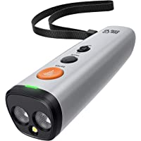 DOG CARE 狗狗吠叫威慑器设备双传感器 2 合 1 超声波狗狗训练和防吠设备,可充电吠叫控制设备 LED 手电筒…