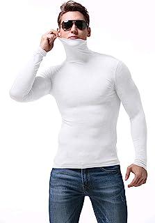 男士高领衬衫毛衣修身基本保暖 T 恤柔软棉质休闲上衣混纺套头衫