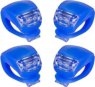 IntTool 自行车踏板车前车和后车硅胶灯防水多用途灯 4 件套 蓝色