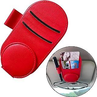 ShuDay 汽车遮阳板眼镜架,皮革太阳镜支架夹眼镜安装汽车遮阳板收纳配件,可容纳 1 副眼镜,2 张卡片,1 支笔(红色)