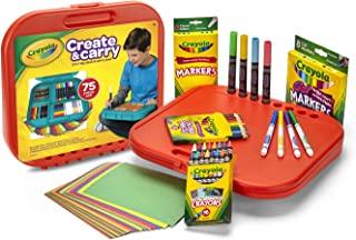 Crayola 绘儿乐 Create 'N Carry 艺术套装 为5岁及以上儿童提供的手工礼品,2合1便携式书桌和小小艺术家随身携带包,共75件包括马克笔、蜡笔、彩色铅笔和纸张,款式可能有所不同